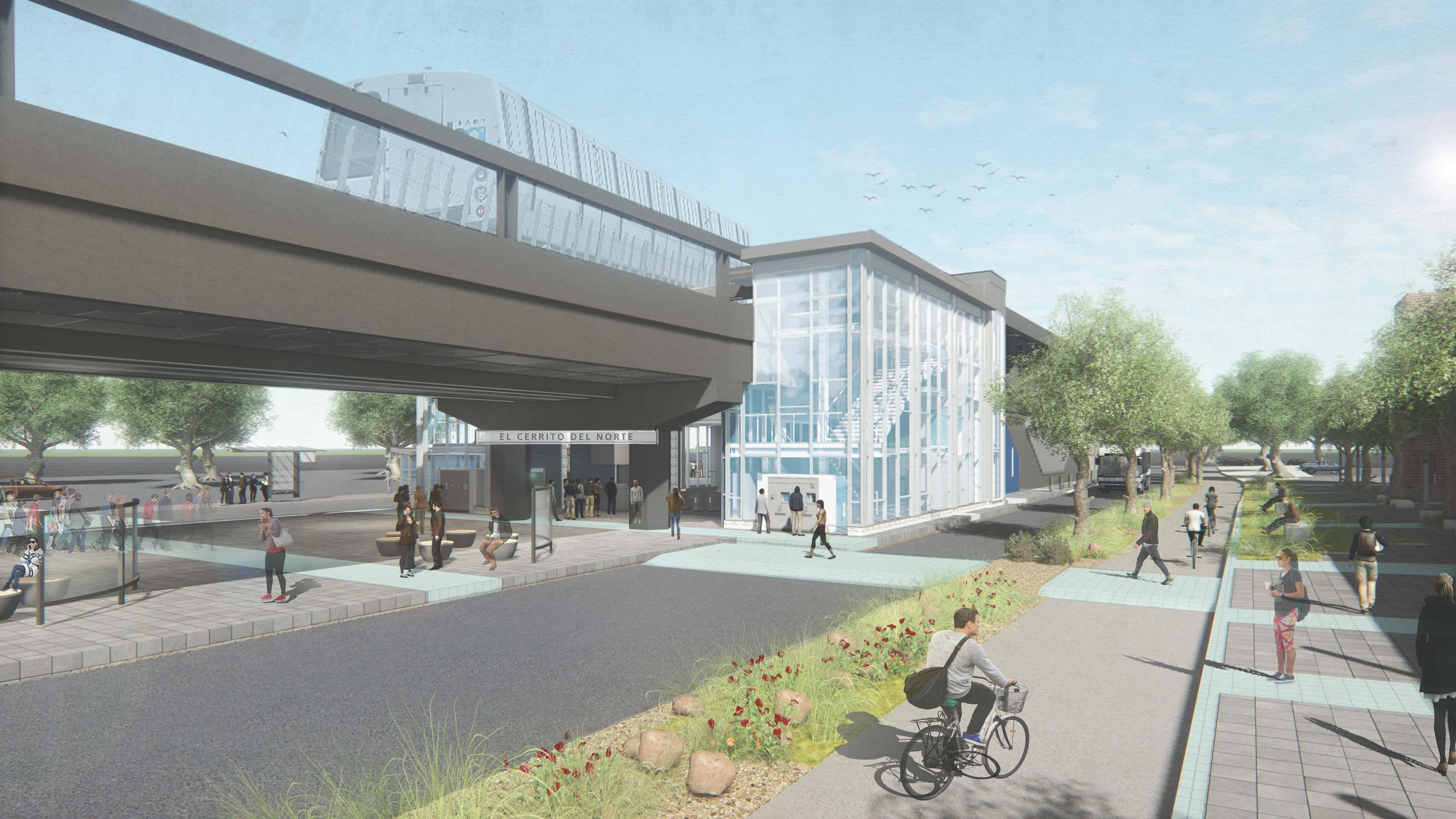 Rendering of the proposed expanded station at El Cerrito del Norte and improved Ohlone Greenway.