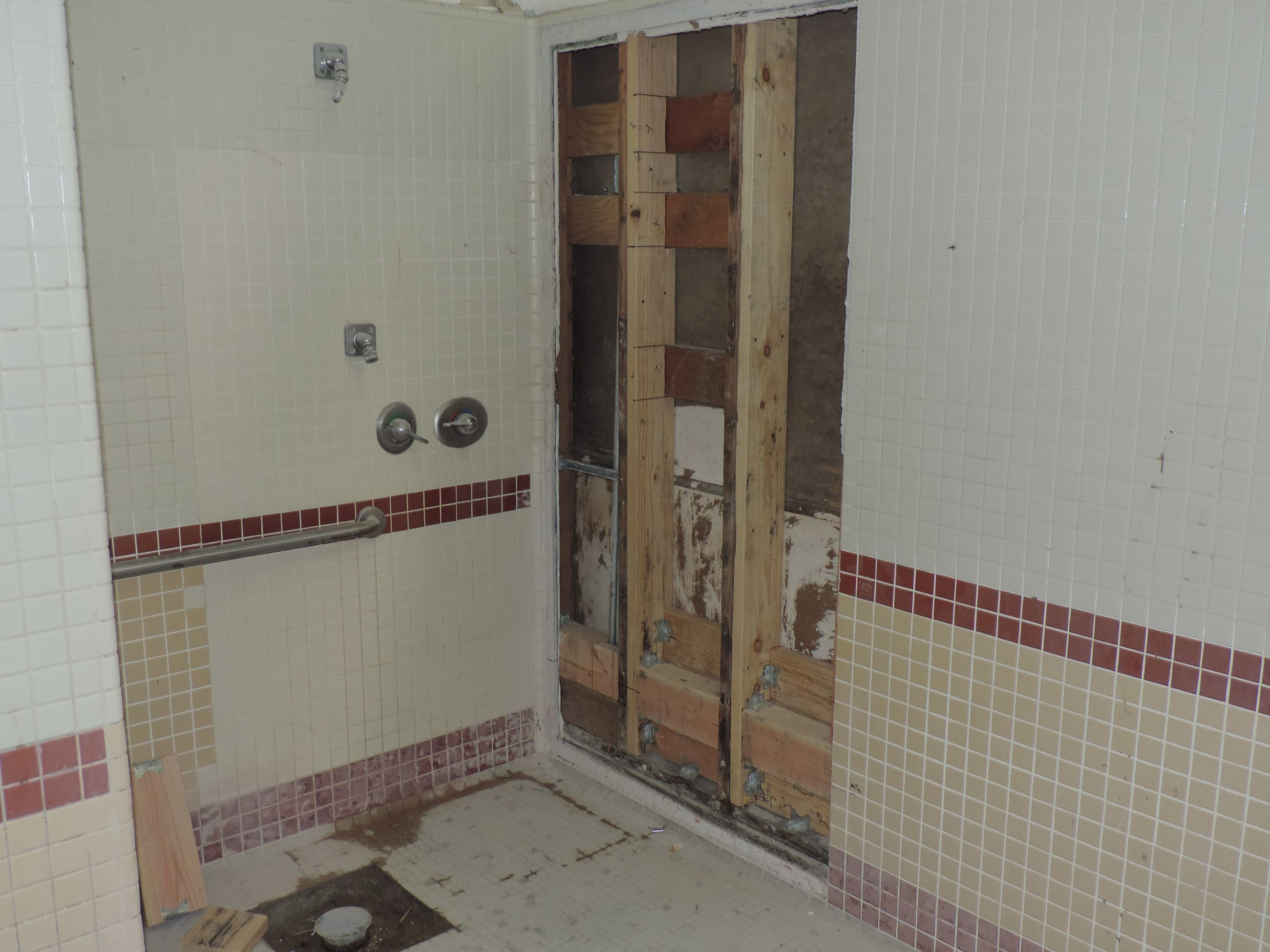 Handicap Shower New Framing (Men's Locker Room)