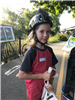 Kid with helmet at Bike to Work Day 2018