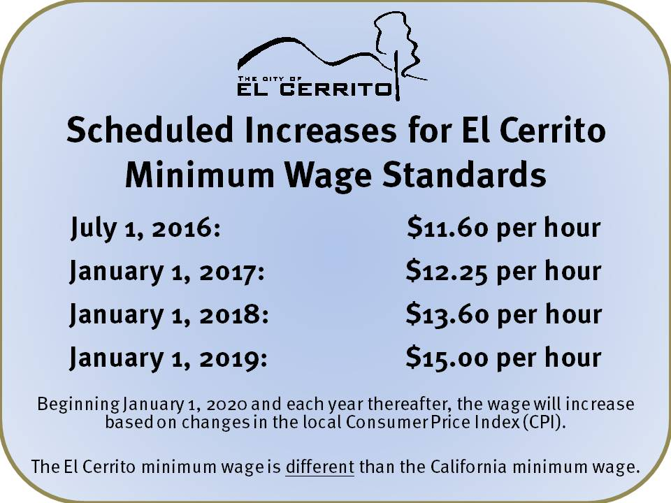 The El Cerrito minimum wage is different than the California